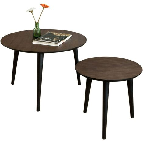 SoBuy Set of 2,Round Wooden Side Nesting Table,FBT40-BR