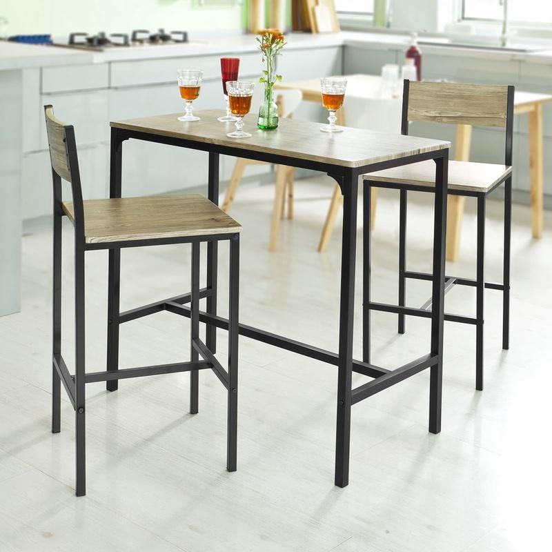 SoBuy Set tavolino bar con 2 sgabelli, Arredo da giardino,Tavolo da ...