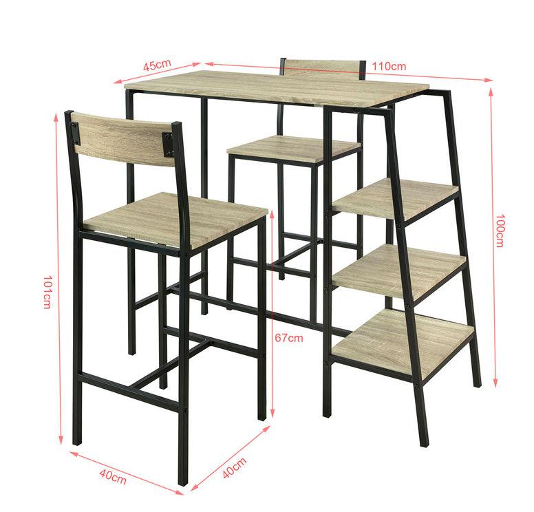 SoBuy Set Tavolo e sedie da Bar,Penisola Cucina Mobile, Altezza: 100 cm, OGT16 N
