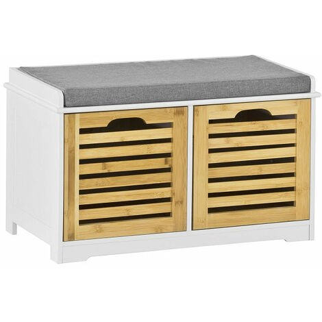 SoBuy Shoe Cabinet Storage Bench with 2 Drawers & Seat Cushion, FSR23-K-WN