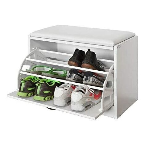 SoBuy Shoe Storage Bench, Shoe Cabinet with Removable Cushioned Seat,FSR16-W