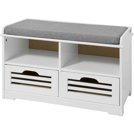SoBuy Shoe Storage Bench with 2 Drawers, 2 Storage Cubes & Cushion,FSR36-K-W