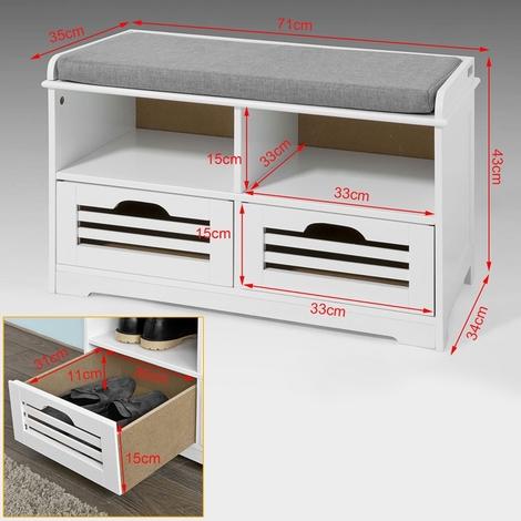 SoBuy Shoe Storage Bench with 2 Drawers, 2 Storage Cubes & Cushion,FSR36-K-W