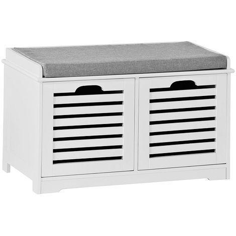 SoBuy Shoe Storage Bench with 2 Drawers & Cushion,FSR23-K-W