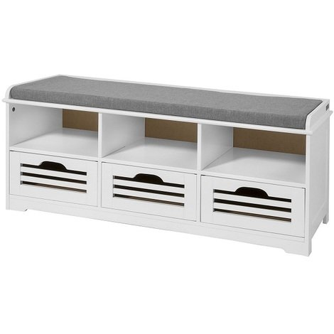 SoBuy Shoe Storage Bench with Drawers, Storage Cubes & Seat Cushion, FSR36-W