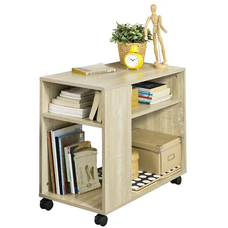 SoBuy Side End Table with Storage Shelves,2 Tiers Bookcase on Wheels,FBT34-N