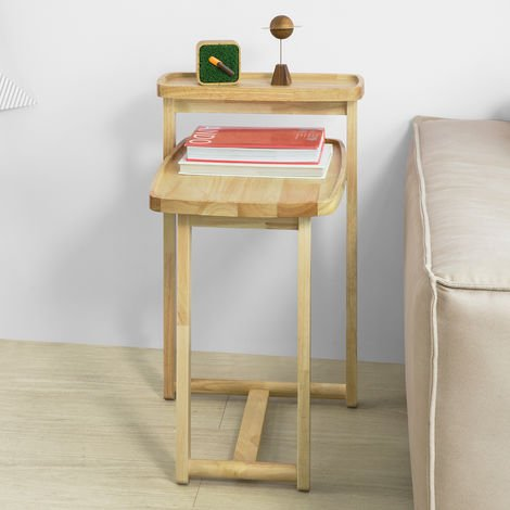 SoBuy Side Table End Table Coffee Table Bedside Table, Bed Sofa Side Table, Rubber Wood