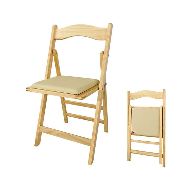 SoBuy Sillla plegable, silla, sillla de madera, silla de cocina, silla de  comedor, color: natural, FST06-N