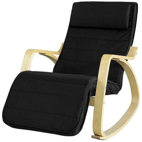 SoBuy® sillón de relax, Silla de relax, mecedora , negro, FST16-SCH