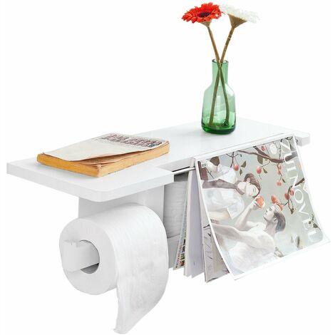 SoBuy® Soporte de rollo de papel higiénico con pantalla, estante liberación de toallas,blanco ,FRG175-W, ES