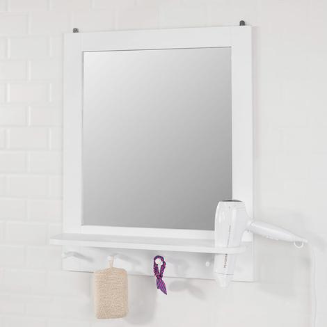 Specchio Per Trucco Da Parete.Sobuy Specchio Da Bagno Con Mensola E Porta Phon Specchio Trucco Da Parete Con 4 Ganci Bianco Frg257 W