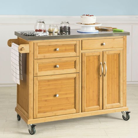 SoBuy Stainless Worktop Kitchen Trolley Island Storage Cupboard, FKW70-N