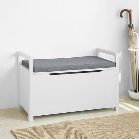 SoBuy Storage Bench with Lift Up Top and Seat Cushion, Bench with Storage Chest, Toy Chest, FSR76-W