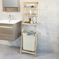 SoBuy Storage Ladder Shelf,Wall Rack with Removable Laundry Basket,FRG160-N