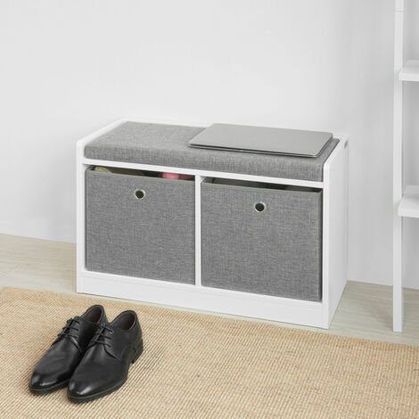 SoBuy Storage Shoe Bench with Seat Shoe Chest with 2 Grey Baskets,FSR65-K-DG