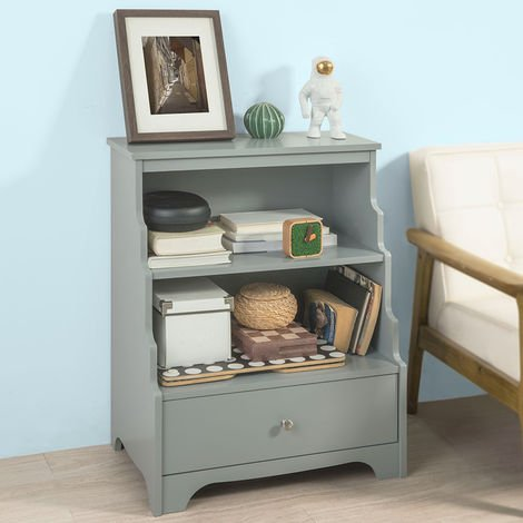SoBuy Storage Unit Bookcase Sideboard Cabinet Side Table Grey,FSB13-HG