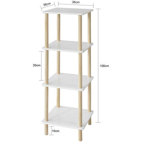 SoBuy STR03-K-WN Standregal mit 4 Ablagen Aufbewahrungsregal Bücherregal Küchenregal Allzweckregal