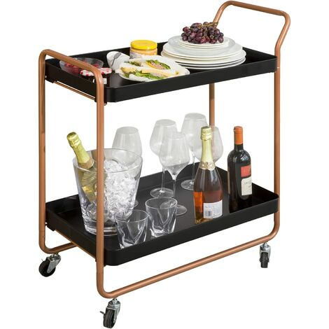 """main image of """"SoBuy SVW08-SCH Chariot de Bar Desserte sur Roulettes Chariot de Service Cuisine avec Poignée et 2 Plateaux en Métal, 73 x 41 x 85 cm"""""""