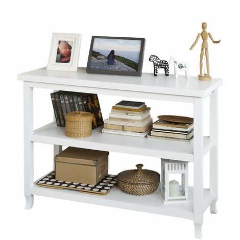 SoBuy® Tabla de consola, armario del pasillo, aparador, mueble de cocina, con 2 estantes, FSB06-W (Blanco)
