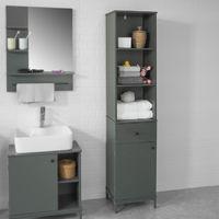 SoBuy Tall Bathroom Storage Cabinet with 3 Shelves 1 Drawer 1 Cabinet, BZR22-DG