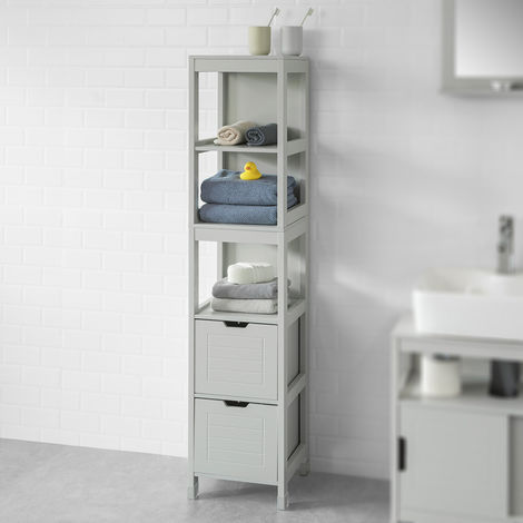 Sobuy Tall Bathroom Storage Cabinet With 3 Shelves And 2 Drawers Grey Frg126 Hg