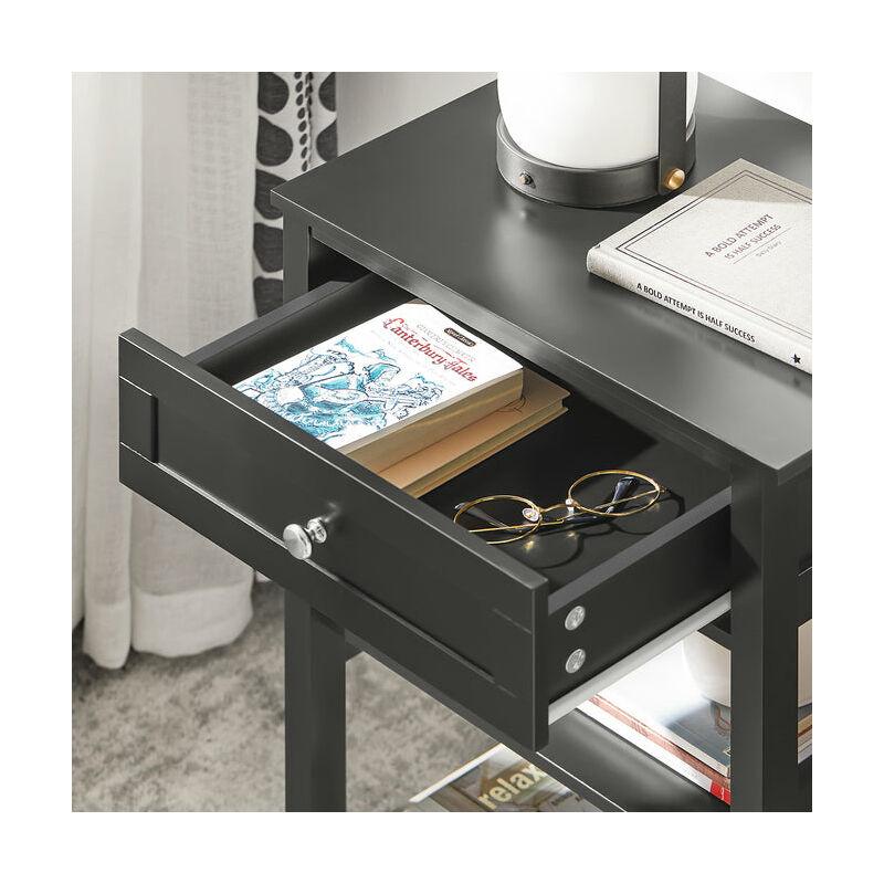 SoBuy Tavolino da divano, tavolino da salotto o soggiorno, con  cassetto,nero,FBT46-SCH