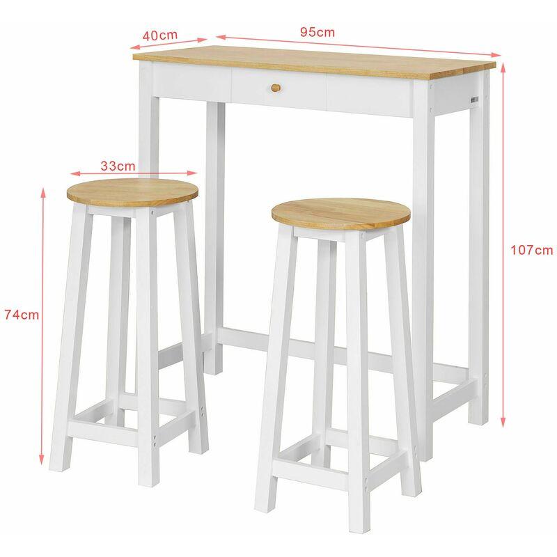 Tavoli Alti Con Sgabelli Per Cucina.Sobuy Tavolo Alto Bar Con 2 Sgabelli Penisola Cucina A107 Cm Fwt50 Wn