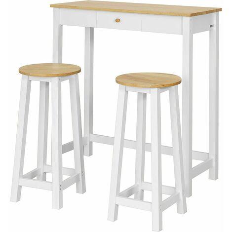 Tavolino Alto Da Bar Con Sgabelli.Sobuy Tavolo Alto Bar Con 2 Sgabelli Penisola Cucina A107 Cm