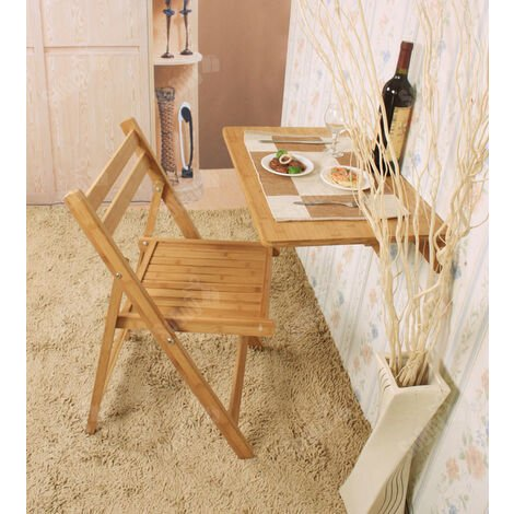 SoBuy Tavolo da muro, tavolo da parete in 100% bambù, Senza sedia ...