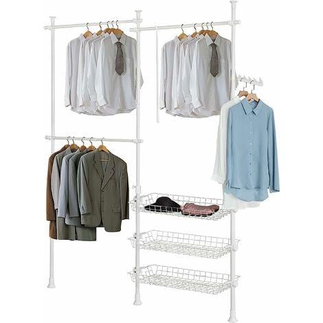 SoBuy Telescopic Wardrobe Hanging Rail With three Baskets,White,FRG34-W