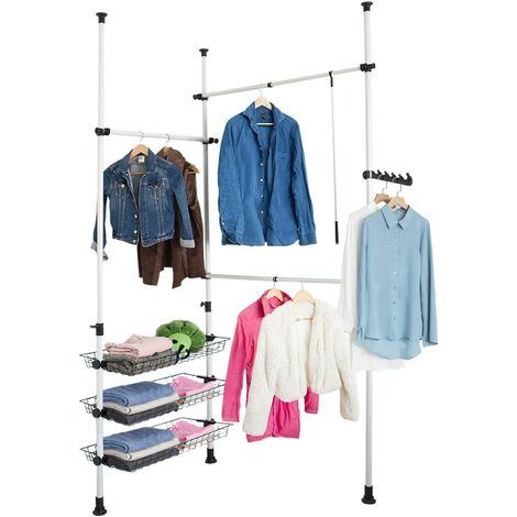 SoBuy Telescopic Wardrobe Hanging Rail,FRG34
