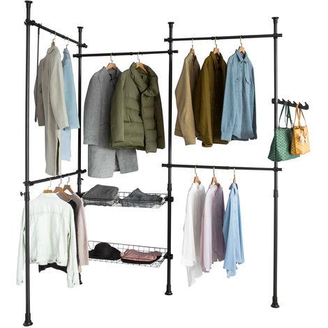 SoBuy Telescopic Wardrobe Organiser Adjustable Shelf Hanging Rail KLS04