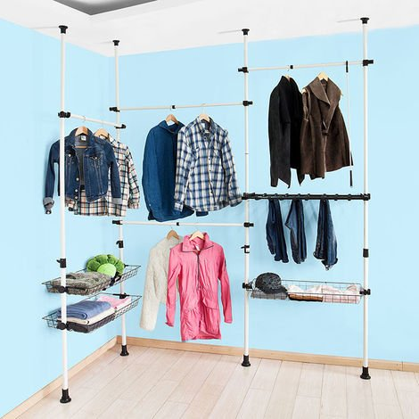 SoBuy Telescopic Wardrobe Organiser Clothes Rack, FRG38