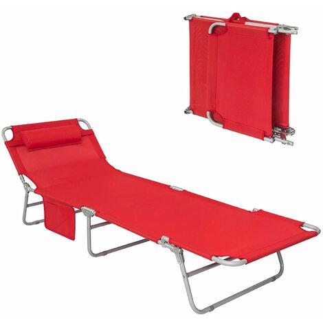 SoBuy® Tumbona inclinable de acero color negro plegable con almohada playa piscina Jardín mecedora,OGS35-R,ES