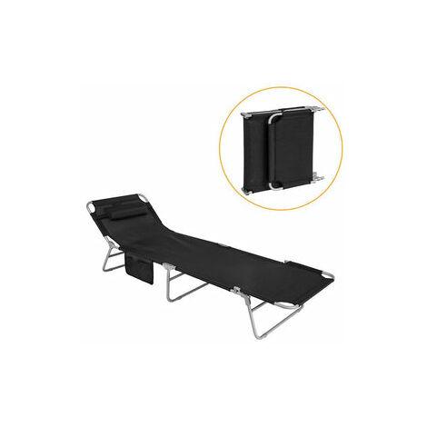 SoBuy® Tumbona inclinable de acero color negro plegable con almohada playa piscina Jardín mecedora,OGS35-SCH,ES