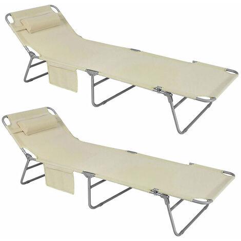 SoBuy® Tumbona inclinable de acero plegable con almohada playa piscina Jardín mecedora,OGS35-MI,ES
