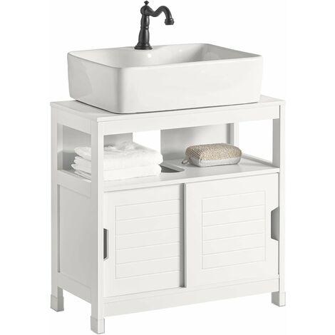 SoBuy Under Sink Bathroom Storage Cabinet with Sliding Door,White,FRG128-W