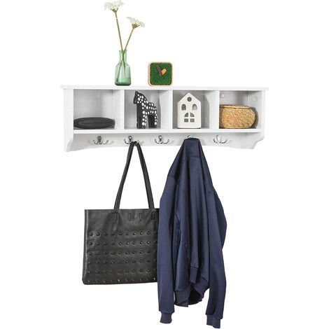 SoBuy Wall Display Storage Coat Rack Cupboard White Wood,FRG48-L-W