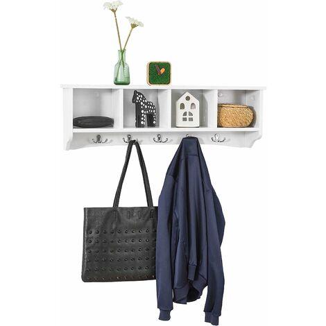 SoBuy Wall Display Storage Coat Rack Cupboard White Wood,FRG48-L-W