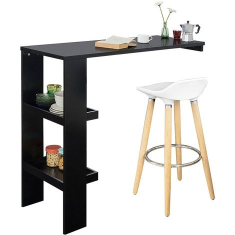 SoBuy Wall Kitchen Breakfast Dining Bar Table with Side Rack Black FWT55-SCH