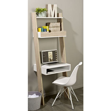 """main image of """"SoBuy Wall Ladder Bookcases and Shelving Unit with 2 Storage Unit & Desk Workstation,FRG111-WN"""""""