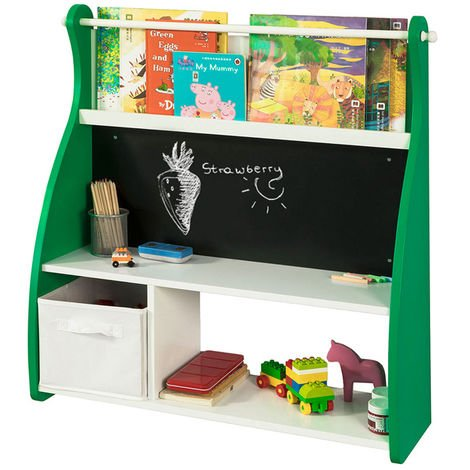 SoBuy Wall Mounted Children Kids Shelving Bookcase with Blackboard KMB09-GR