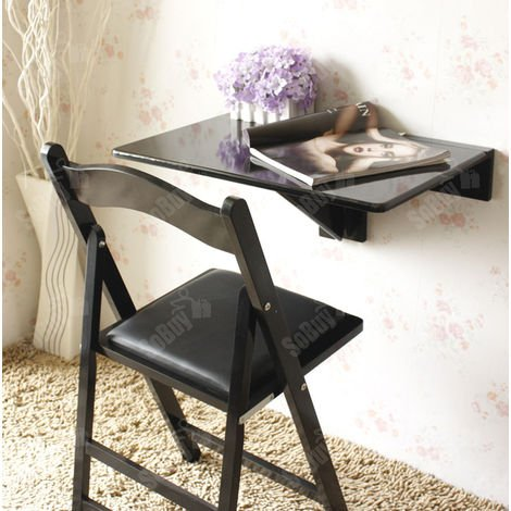 So Wall Mounted Drop Leaf Table Folding Kitchen Dining Desk Color Black Fwt03 Sch