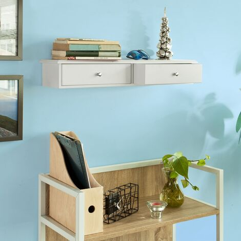 SoBuy Wall Mounted Shelf with 2 Drawers, Storage Unit, White Finish, FRG43-W