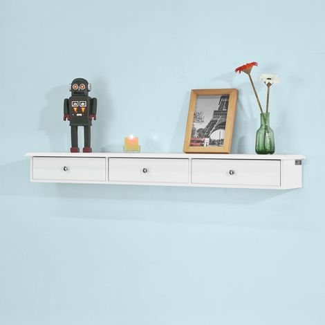 SoBuy Wall Mounted Shelf with 3 Drawers, Storage Unit, White Finish, FRG43-L-W