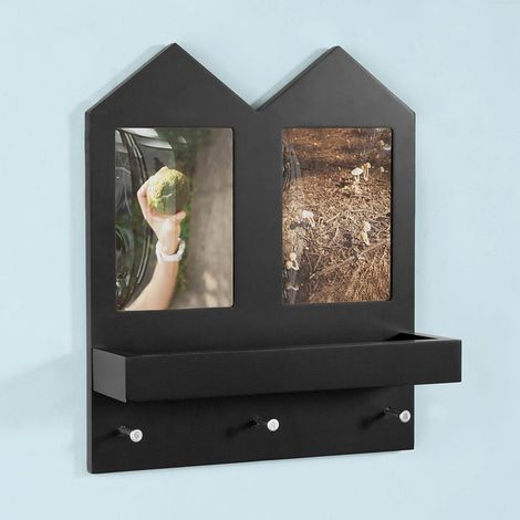 SoBuy Wall Shelf with 2 Picture Photo Frames and 3 Hooks, Black,FHK02-SCH