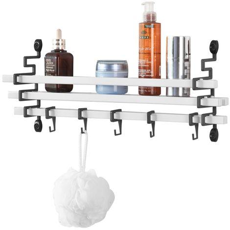 SoBuy Wall Storage Shelf, Bathroom Shelf Rack with 5 Hooks, FRG173-W