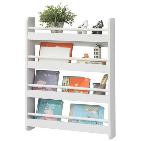 SoBuy Wall White Wood 4 Tiers Kids Storage Shelving Bookcase Rack KMB08-K-W