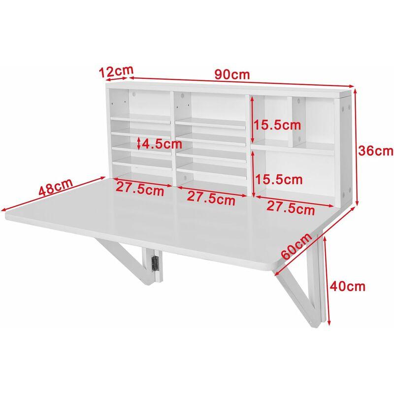 Sobuy Wandklapptisch.Sobuy Wandklapptisch Schreibtisch Mit Integriertem Schweberegal Weiß Fwt07 W