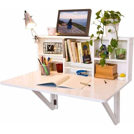 SoBuy Wandklapptisch Schreibtisch mit Integriertem Schweberegal weiß FWT07-W
